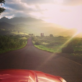 Road to the campsite. Glamping in North Shore Hawaii.