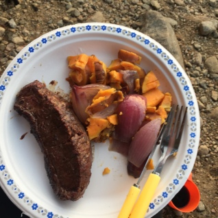 Steak, Onion and Sweet Potatoe made on over the fire