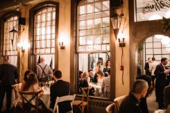 Guests at Bohemian chic wedding at caffino ristorante in Toronto